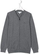 Burberry elbow patch zip cardigan - kids - Cotton - 14 yrs