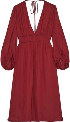 Halston Tie-back Gathered Crepe De Chine Dress