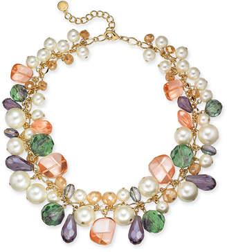 Charter Club Gold-Tone Imitation Pearl, Bead & Stone Shaky Necklace, 17