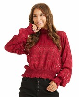 SONJA BETRO Women's Lace Sheer Mockneck Long Balloon Sleeve Smocked Waistband Tunic Top XXX-Large Red