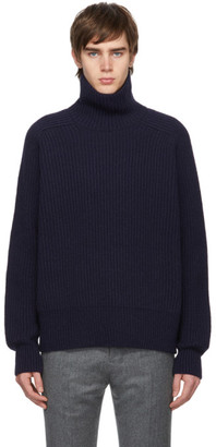 Ami Alexandre Mattiussi Navy Fishermans Rib Funnel Turtleneck