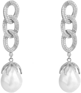 Latelita Baroque Pearl Link Chain Drop Earring Silver