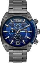 Diesel Men's Chronograph Overflow Gunmetal Stainless Steel Bracelet Watch 49x54mm DZ4412