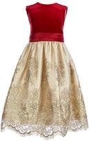 Jayne Copeland Big Girls 7-12 Velvet/Embroidered Mesh Fit-And-Flare Dress