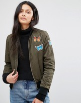 Brave Soul Khaki Bomber Jacket With Butterfly Badges