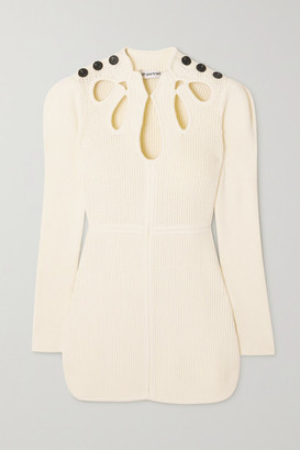 Self-Portrait Button-embellished Cutout Ribbed Cotton-blend Mini Dress - Cream