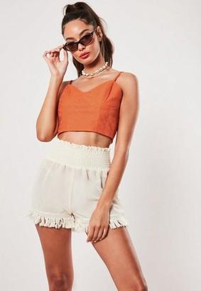 Missguided Orange Broderie Cami Crop Top