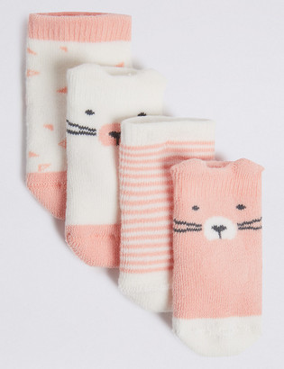 Marks and Spencer 4 Pack of Bear Terry Baby Socks