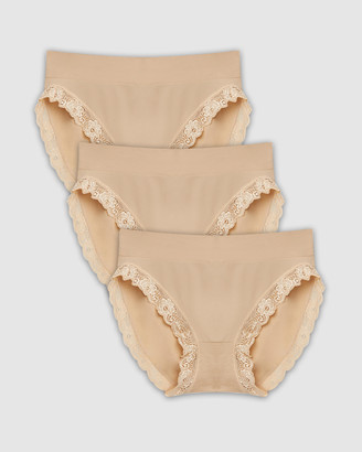 B Free Intimate Apparel - Women's High Waisted Briefs - Contour Lace High Cut Briefs - 3 Pack - Size One Size, M at The Iconic