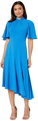 Maggy London Catalina Crepe Twist Neck Asymmetrical Hem Midi Dress (Sea Blue) Women's Dress