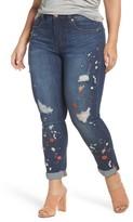 Melissa McCarthy Plus Size Women's Paint Splatter Stretch Skinny Jeans