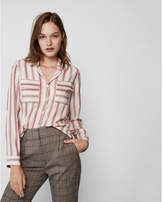 Express stripe button front city shirt by