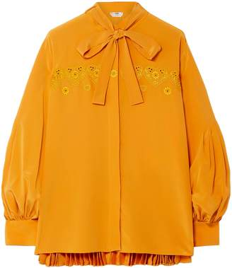 Fendi Pussy-bow Embroidered Pleated Silk Crepe De Chine Blouse