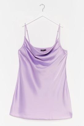 Nasty Gal Womens Plus Satin Strappy Cowl Mini Dress - Purple - 16