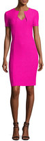 St. John Ribbon Texture Knit Folded V-Neck Sheath Dress, Pink