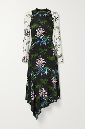 Kenzo Asymmetric Floral-print Stretch-jersey Dress - Black