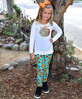 Beary Basics White Long-Sleeve Tee & Teal & Orange Leggings - Toddler & Girls