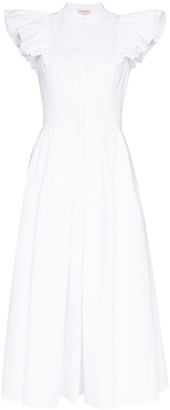 Alexander McQueen Frill-Sleeve Midi Dress