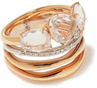 Brumani 18kt rose and white gold Confete e Serpentina diamond and quartz ring