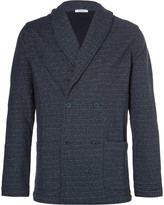 Eidos Shawl-Collar Double-Breasted Loopback Cotton-Jersey Blazer