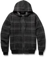 Public School - Ollan Checked Textured-flannel Zip-up Hoodie
