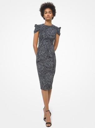 Michael Kors Collection Paisley Stretch Cady Draped-Sleeve Sheath Dress
