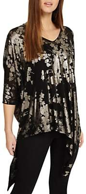 Phase Eight Bonnie Blossom Foil Knitted Top, Black