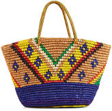 Sensi Studio Beige Tribal Maxi Straw Bag
