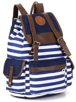 Greeniris Teenage Girls Causal Canvas Drawstring School Bag Stripe Rucksack Backpack for Woen waterelon red