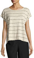 Eileen Fisher Short-Sleeve Striped Box Top, Natural/Black