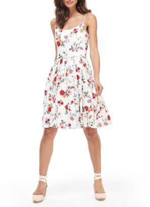 Gal Meets Glam Floral-Print Scoop-Neck Sleeveless Tie-Back Fit-&-Flare Dress