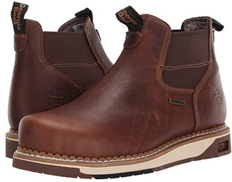Georgia Boot AMP LT Wedge Steel Toe Waterproof Chelsea Work Boot (Dark Brown) Men's Boots