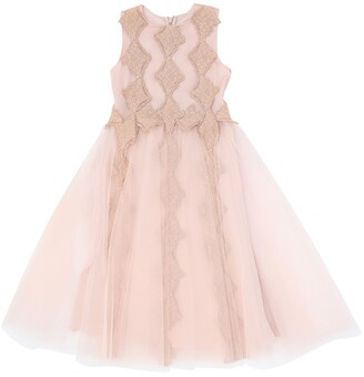 Rhea Costa Lace & Stretch Tulle Party Dress
