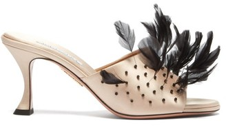 Aquazzura Bird Of Paradise 75 Feather And Satin Mules - Pink Multi