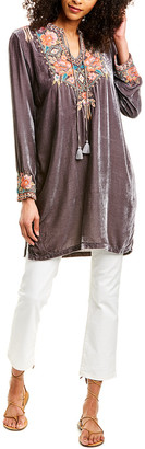 Johnny Was Maeve Velvet Trapunto Silk-Blend Tunic