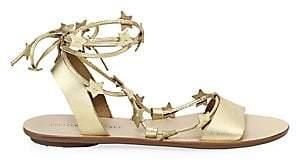 Loeffler Randall Women's Starla Ankle-Wrap Metallic Leather Sandals