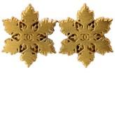 Chanel Gold Tone Snowflake Crystal Coco Pierced Earrings