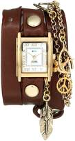 La Mer Women's LMCW1006 Peace Pipe Charm Chain Wrap Watch