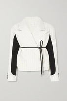 Sacai Belted Paneled Pinstriped Wool-blend And Shell Jacket - Off-white