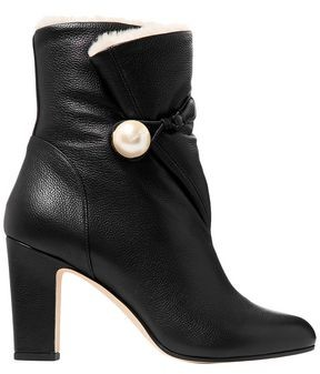 Jimmy Choo Bethanie 85 Shearling-lined Embellished Textured-leather Ankle Boots