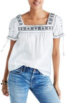 Madewell Women's La Villa Embroidered Peasant Top