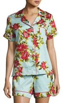 BedHead Hibiscus Floral-print Shorty Pajama Set, Light Blue, Plus Size