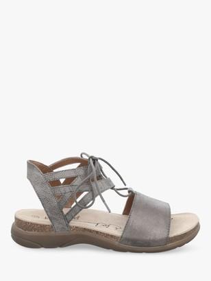 Josef Seibel Riley 06 Leather Lace Up Sandal, Metallic Grey