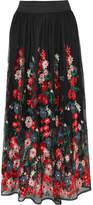 Maje Jamie Embroidered Tulle Midi Skirt - Black