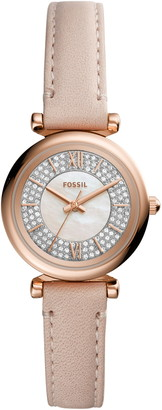 Fossil Carlie Mini Pave Leather Strap Watch, 28mm