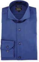 Neiman Marcus X-Trim Geometric-Print Dress Shirt, Blue
