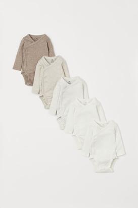 H&M 5-pack Wrapover Bodysuits - Beige