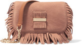 See by Chloe Rosita paneled fringed suede and textured-leather shoulder bag
