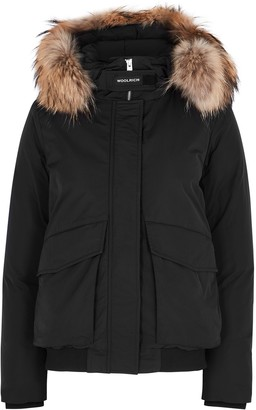 Woolrich Black Fur-trimmed Twill Bomber Jacket