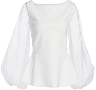 Chiara Boni Katell Puff-Sleeve Peplum Top